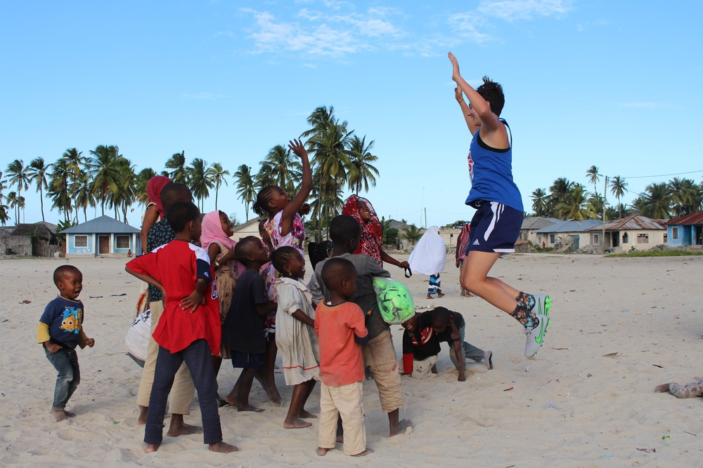 Megan organizing a jumping photo in Paje, July 2015