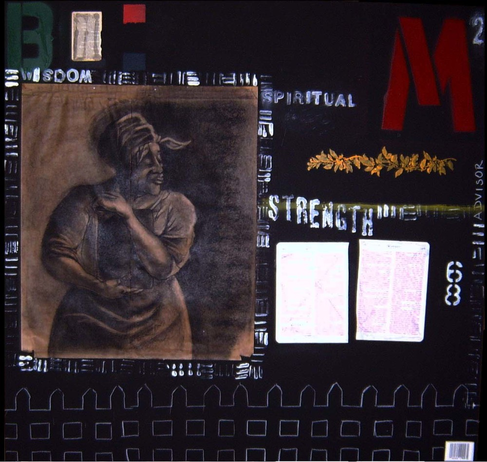 Big Momma with Black Book 48x48 Mixed Media on Wood SJ Museum of Art