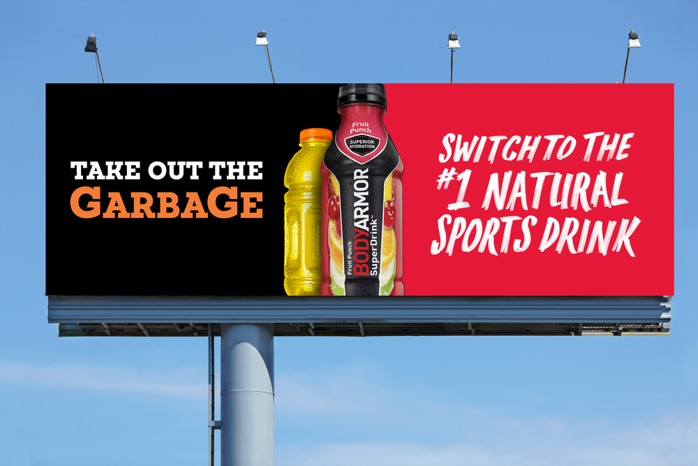 Competitive billboards were strategically placed near Gatorade & PepsiCo Offices.