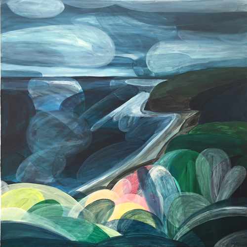 'Moody Blue, Clarity, Break in the Clouds; Bells Beach'  2016 120cm x 120cm Acrylic on Canvas