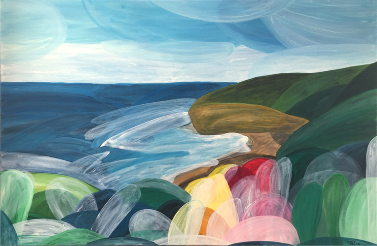 'Sun, Soul, Heart; Bells Beach'  2016 90cm x 140cm Acrylic on Canvas
