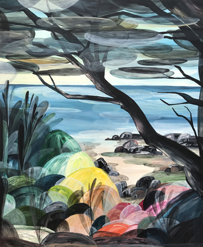 'Filtered Views of Low Tide in Paradise'  2018 134cm x 164cm Synthetic Polymer on Canvas