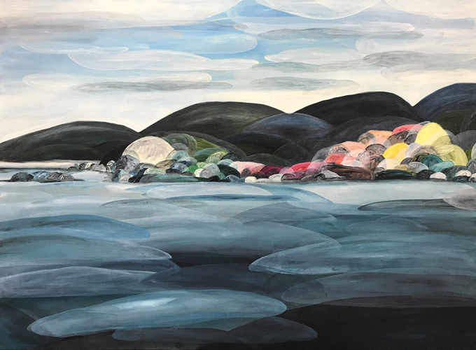 'The Honesty of Time from the Ocean's Perspective'  2018 104cm x 144cm Synthetic Polymer on Belgium Linen