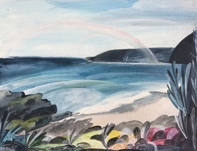 'Rainbows over Lorne'    2017 54cm x 44cm Synthetic Polymer on Belgium Linen Private Commission Victoria