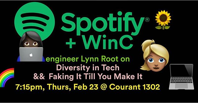 WinC is hosting Spotify engineer and founder of the SF Chapfer of PyLadies, Lynn Root! She'll be talking about diversity, imposter syndrome, and more! Check out her blog at roguelynn.com ✨ Come out and bring a friend ☺