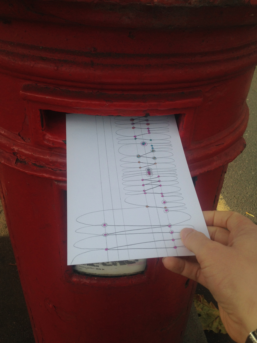 Greeting my friendly local London postbox once again...
