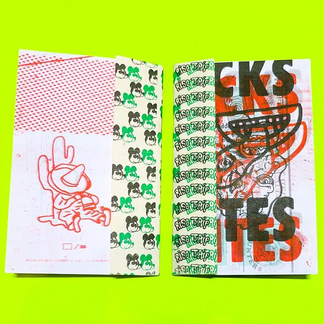 """So happy to announce that one of our Riso Trips """"Licks and Bites"""" zine has been included in this months carefully curated shipment of zines delivered monthly by @zineomatic Zine-o-Matic is a monthly zine subscription service. That makes finding great zines easy. They draw from a worldwide network of super cool artists to bring you the best zines. Give them a follow or visit their site an subscribe www.zineomatic.com"""