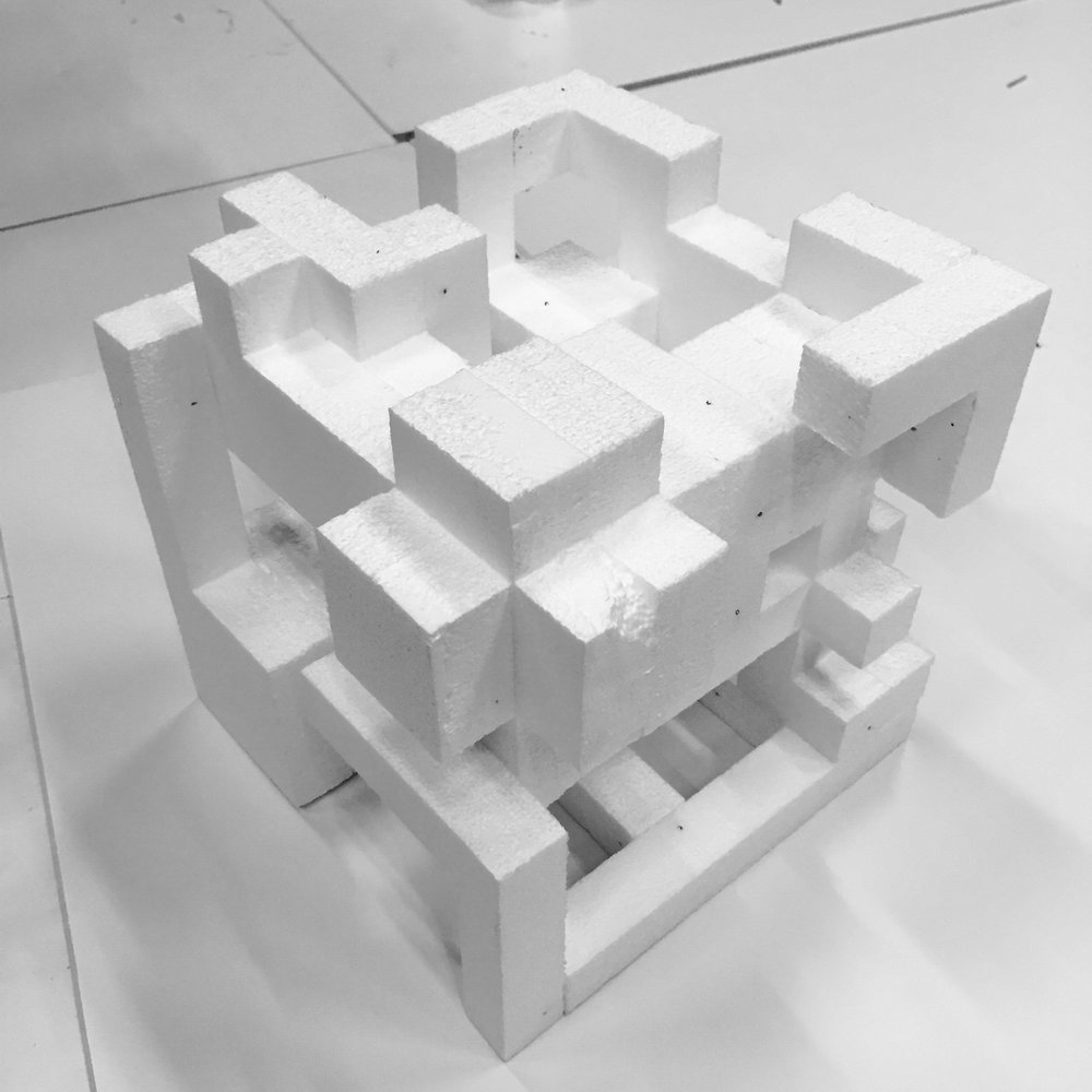 Solid Void Assignment: Students Are Asked To Create A Composition Within A  Cubical Space With