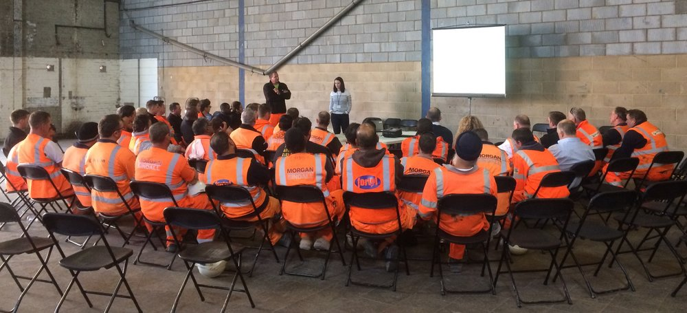 Last HEALTH AND SAFETY session of the day for Morgan Sindall at Pudding Mill Lane