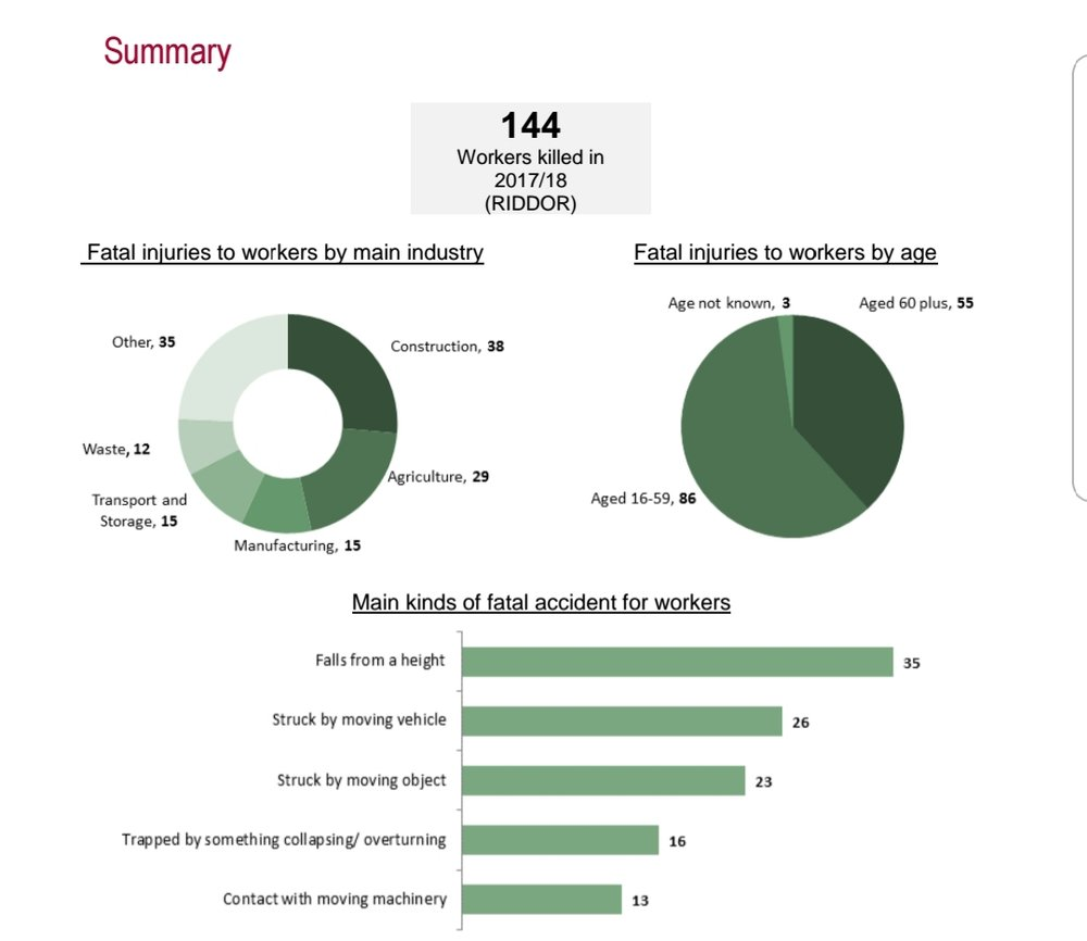 The Health and Safety Executive's Annual Fatality Statistics 2017/18
