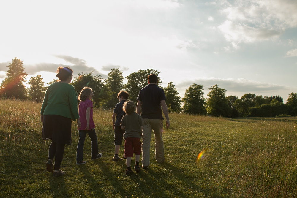 family walk at sunset in tring park