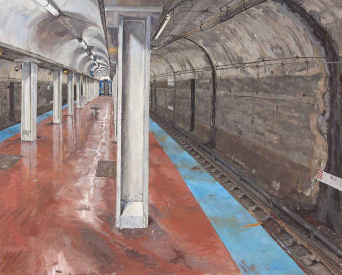 CTA , CHICAGO AVE. STOP, OIL ON LINEN, 34X45'', 2011