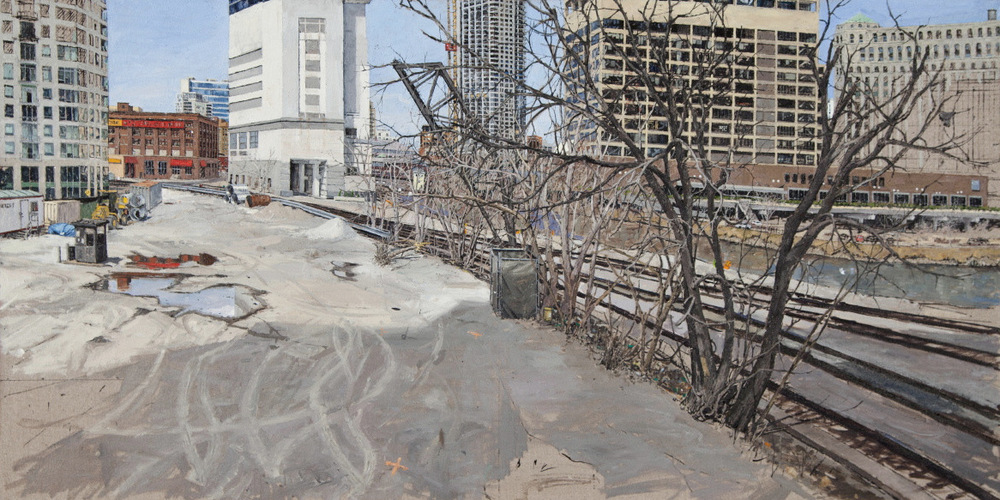 LOOKING NORTH FROM LAKE ST. BRIDGE PRIOR TO DEVELOPMENT, OIL ON LINEN, 28X48'', 2013