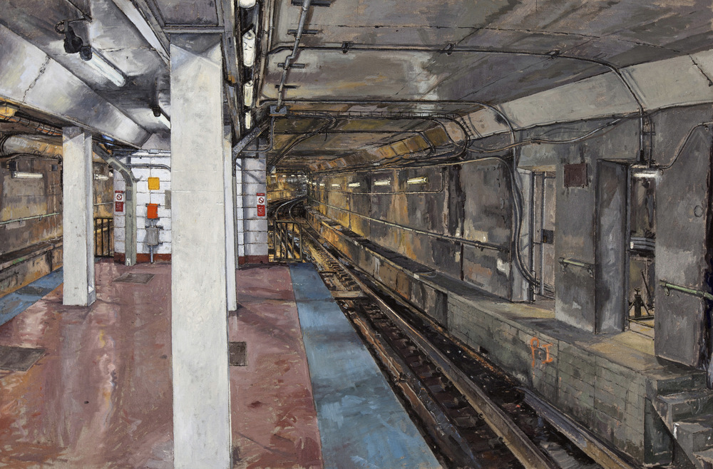 CTA, DIVISION ST. STOP, OIL ON LINEN, 32X47'', 2011
