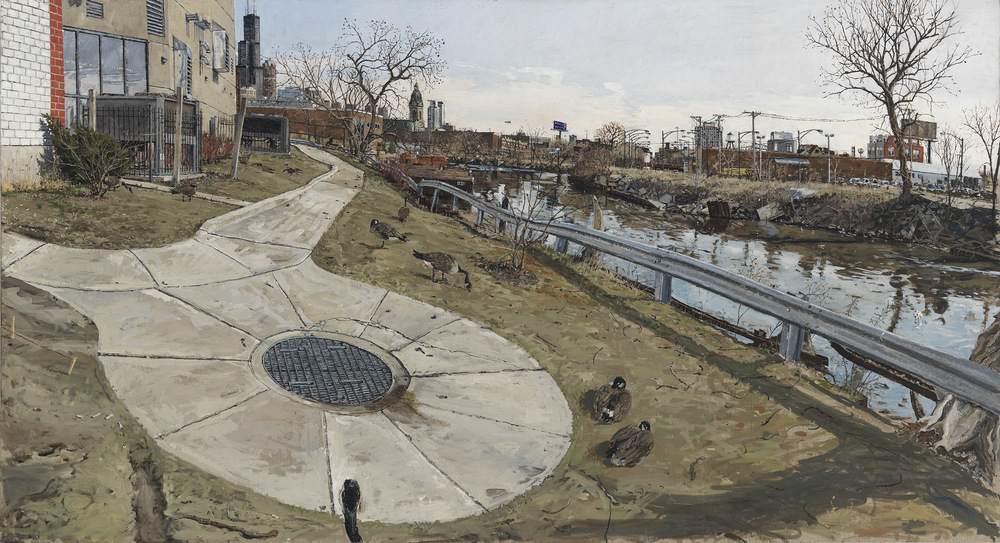 "CHICAGO RIVER WITH TWO GEESE, OIL ON LINEN, 30X47"", 2010"