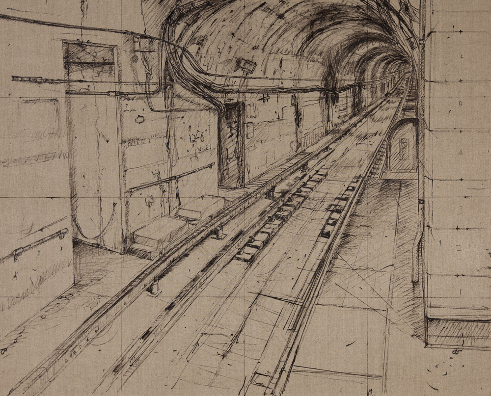 CTA, CLYBORN ST. STOP [ DRAWING ], OIL ON LINEN, 34X45'', 2012