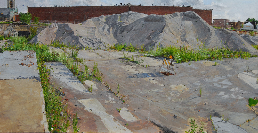 MOUNTAIN OF CRUSHED CONCRETE, OIL ON LINEN, 23X44'', 2008