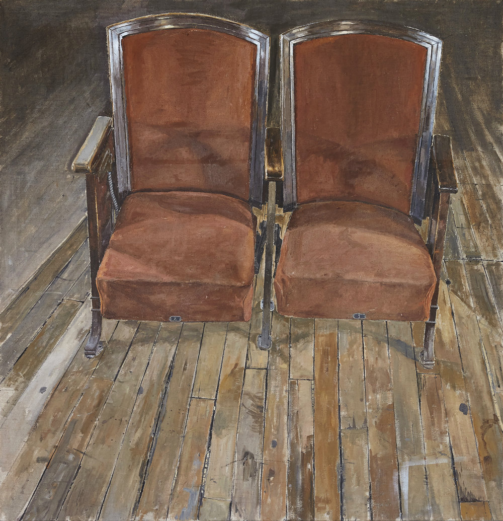 """CHAIR ONE AND TWO"", 2017, 33x32"", OIL ON LINEN"