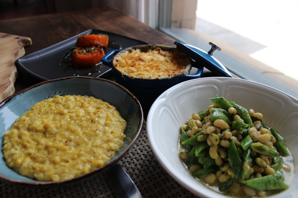 Lemon Glazed Sweet Potatoes, Mid-Century Mac, Local Lady Peas and Snap Peas in Lemon Dill Butter, Fatback Fried Corn.JPG