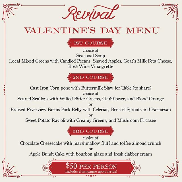 Join us Feb. 14th for our Valentine's Day dinner at Revival ❤️🥂❤️ Info avail at link in bio.