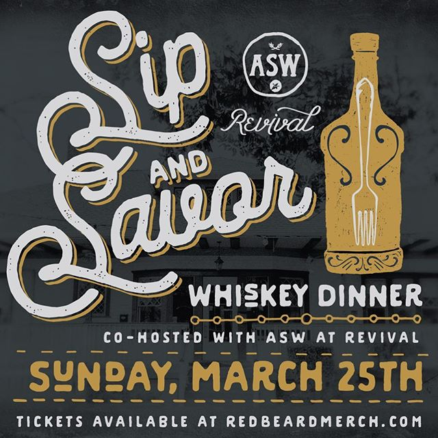 Join us Sunday, March 25th, for our first Sip & Savor dinner, with @aswdistillery! Tickets avail at link in bio.