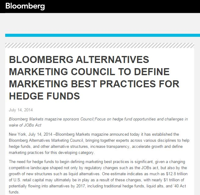 I sit on the Bloomberg Alternatives Marketing Roundtable