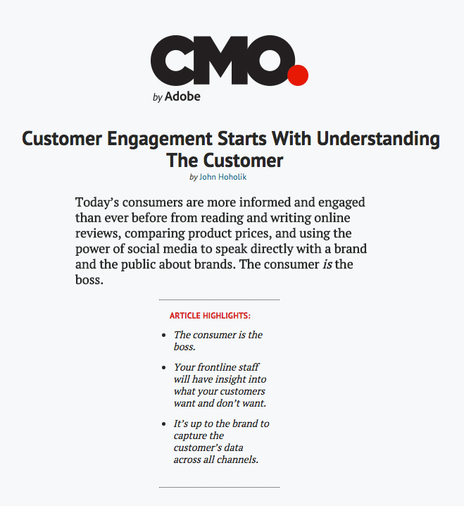 "Excerpt of ""Customer Engagement Starts With Understanding The Customer"" by John Hoholik via CMO.com"