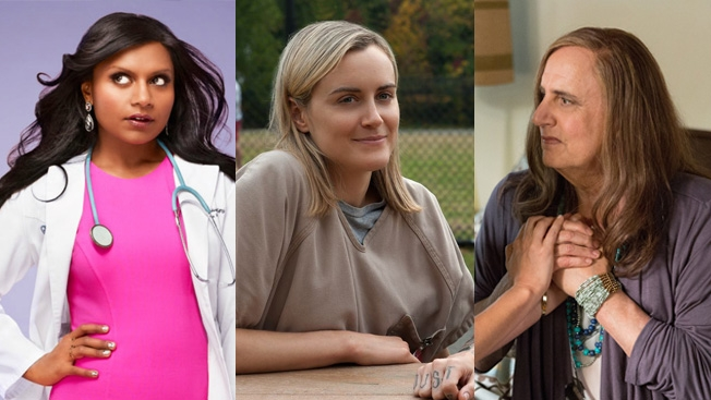 """Netflix reigns supreme in the battle of streaming services. """"Here's Why Consumers Love Netflix More Than Amazon and Hulu""""By Jason Lynch via Adweek.Images (left to right)The Mindy Project, Orange is the new black and Transparency"""
