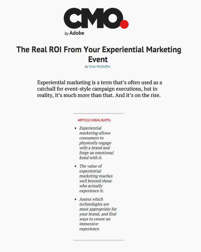 """The Real ROI From Your Experiential Marketing Event"" By Gina McDuffie via CMO.com"