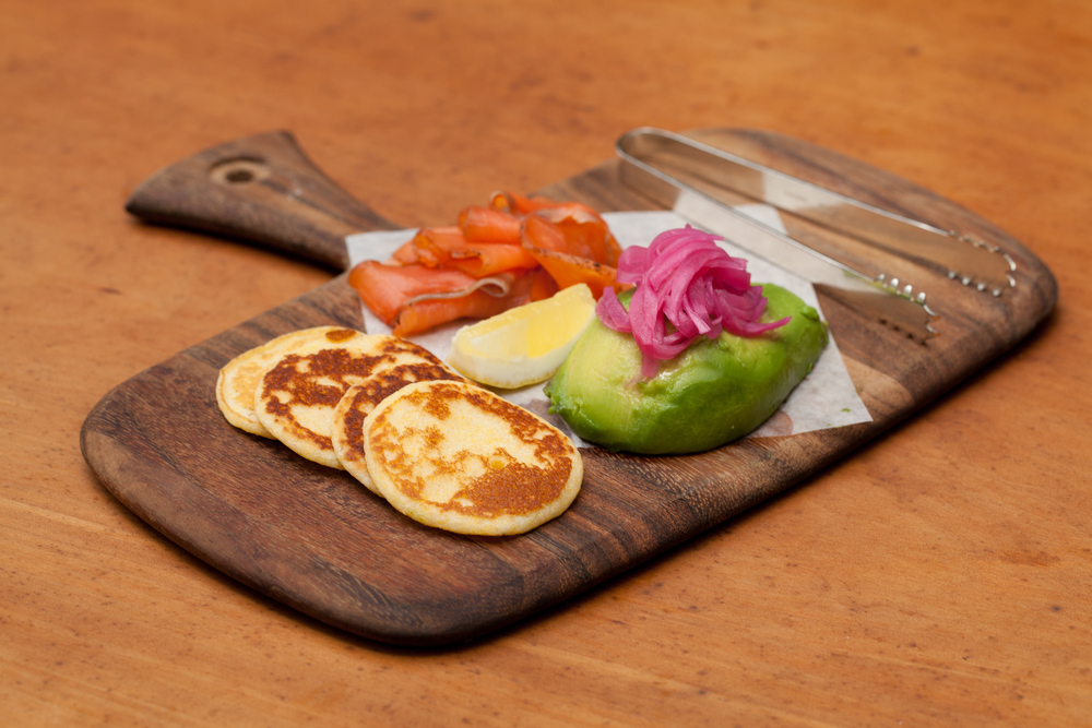 Housemade Smoked Salmon, Avocado, Pickled Onions, Silver Dollar Johnny Cakes.jpg