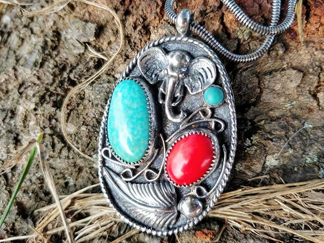 Finished up this custom pendant. Turquoise and coral, elephant and feather, what more could you want?#feathernecklace #elephantpendant #turquoisependant #coral