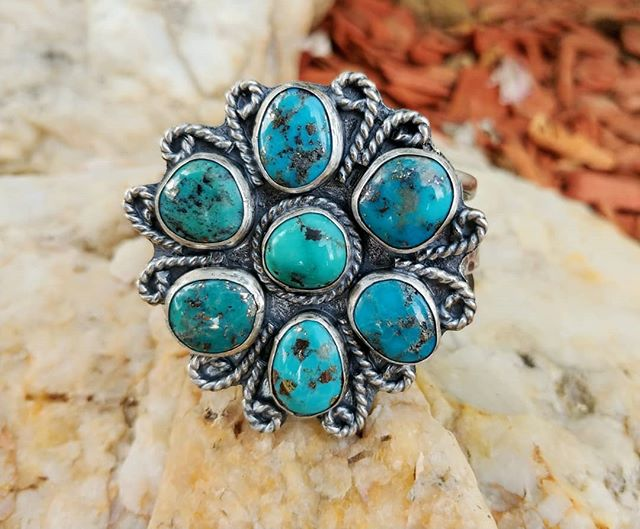 My biggest project yet! This turquoise is special! It has flecks of pyrite in it. This cuff is approximately 2x2. And it is made for a small to medium sized wrist. I've wanted to make a cluster cuff like this for a very long time! Dm to purchase. #clustercuff #turquoisecuff #turquoise #hempgalore #brokenbow #hochatown