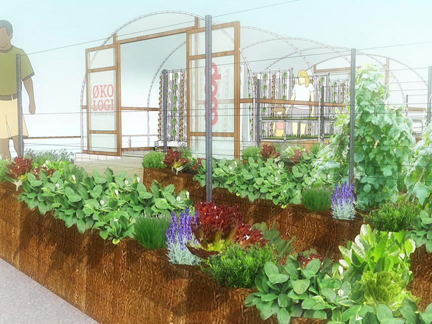 BIOARK - polytunnel og halmballehave, Fragtmandshallen Vesterbro - Taglandbrug / bylandbrug / Urban Farming