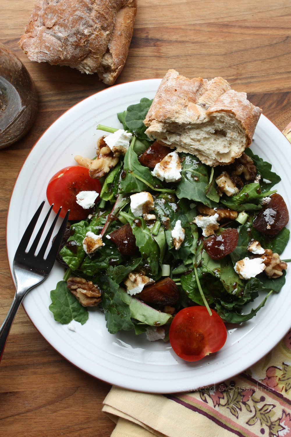Apricot + Goat Cheese Salad with Honey Balsamic Dressing