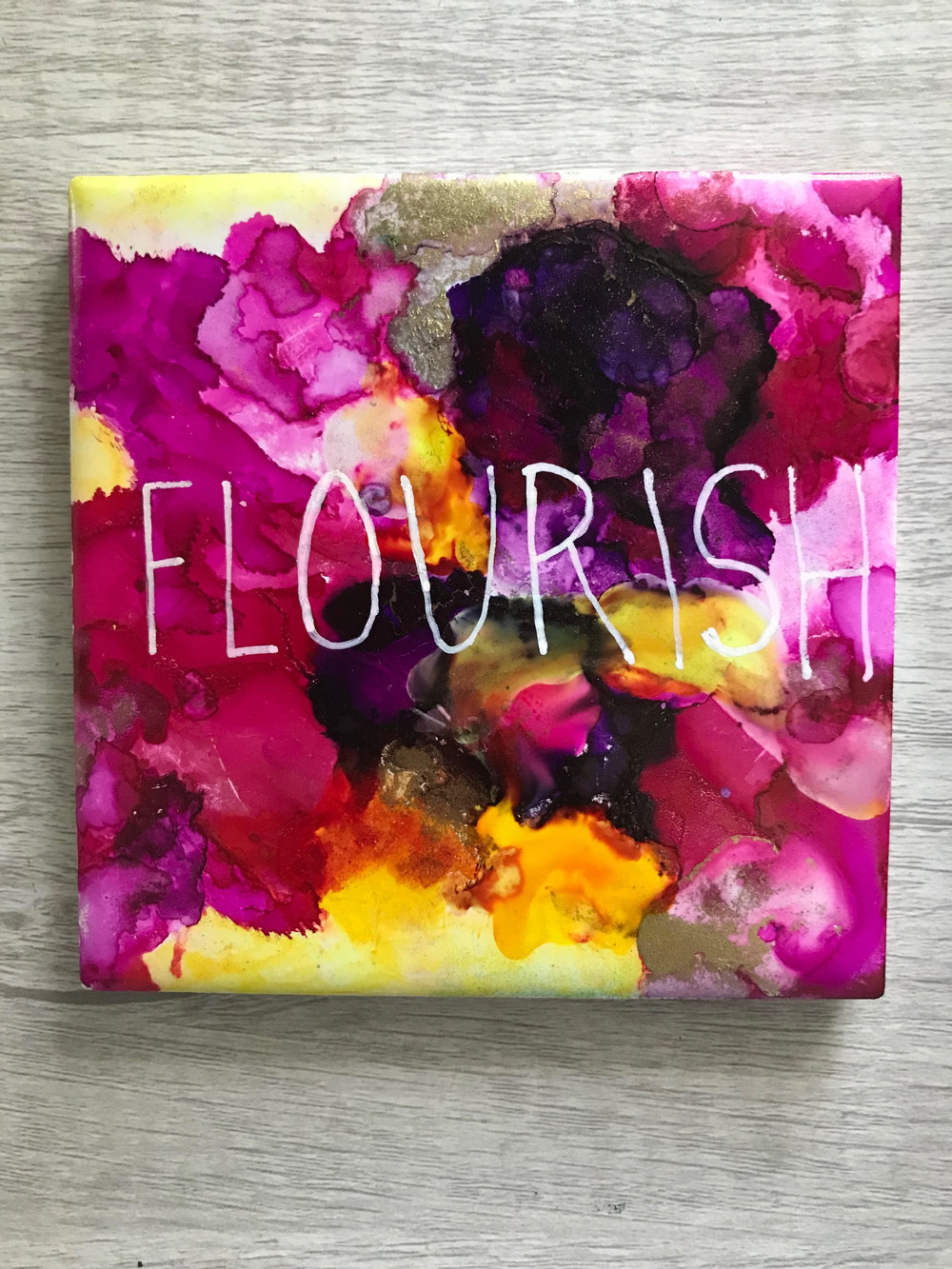 """Flourish"" 4x4"" ceramic tile, for sale"