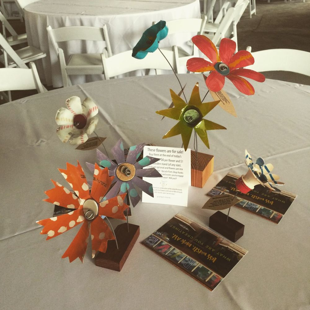 Upcycle Parts Shop created centerpieces for Cleveland Neighborhood Progress' Vibrant Cities Luncheon this spring.