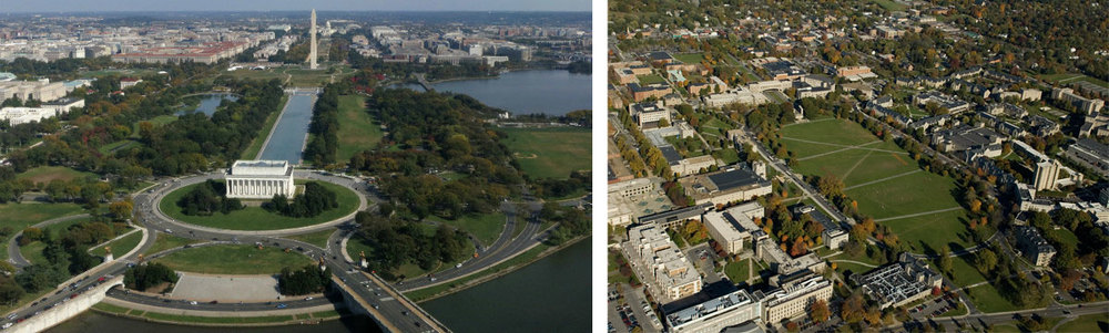 (Left) Washington, D.C. and (Right) Virginia Tech Campus in Blacksburg, Virginia