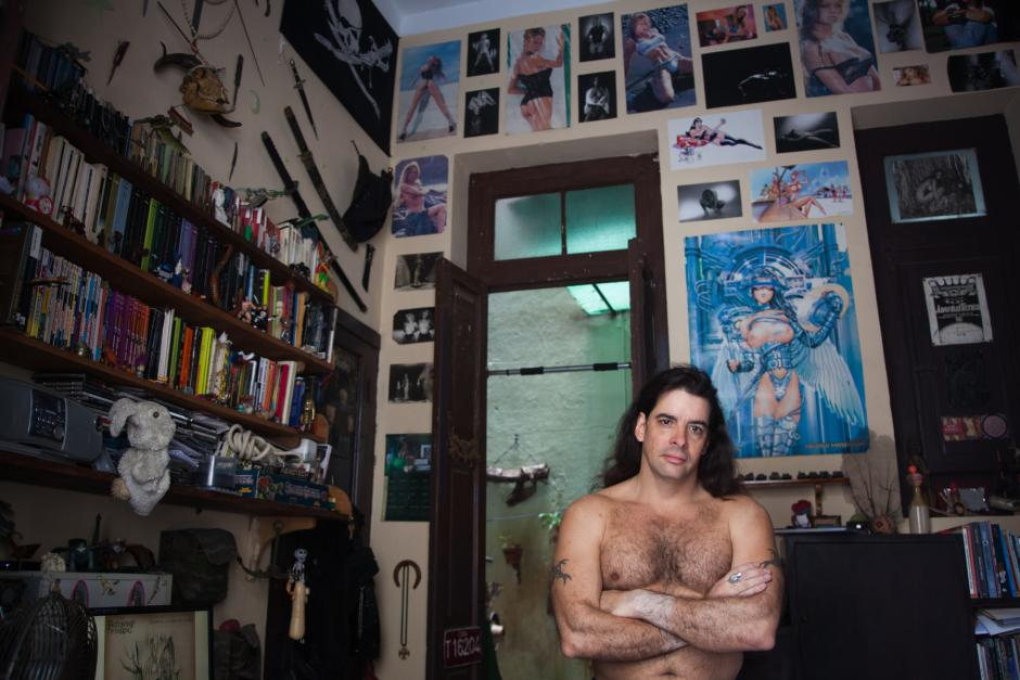 José Miguel Sánchez collects Anime and swords in his home in Havana. He is the island's most celebrated science fiction writer. (Lisette Poole)