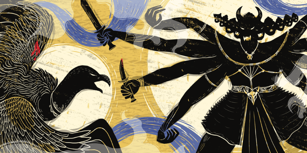 Ramayana 07 - Jatayu battles Ravana.png