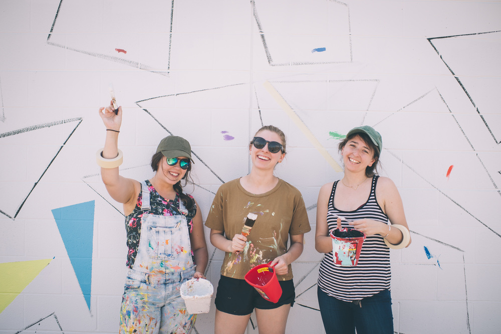 Mural Artist Liz Richter with LVA interns Michelle Montgomery and Zara Goldberg