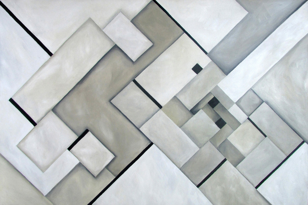 """Gray Center"" by Andrea Alonso Salinas, 24x24in, oil on canvas (2015), $600 