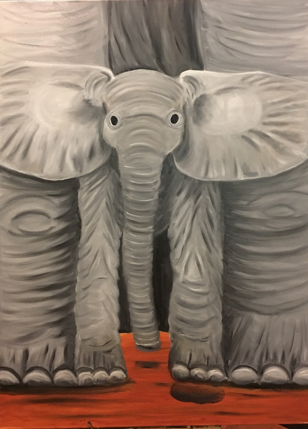 """Mommy & Me: Elephants"" by Teresa McCarthy, 36x36in, oil on canvas (2016), $425 