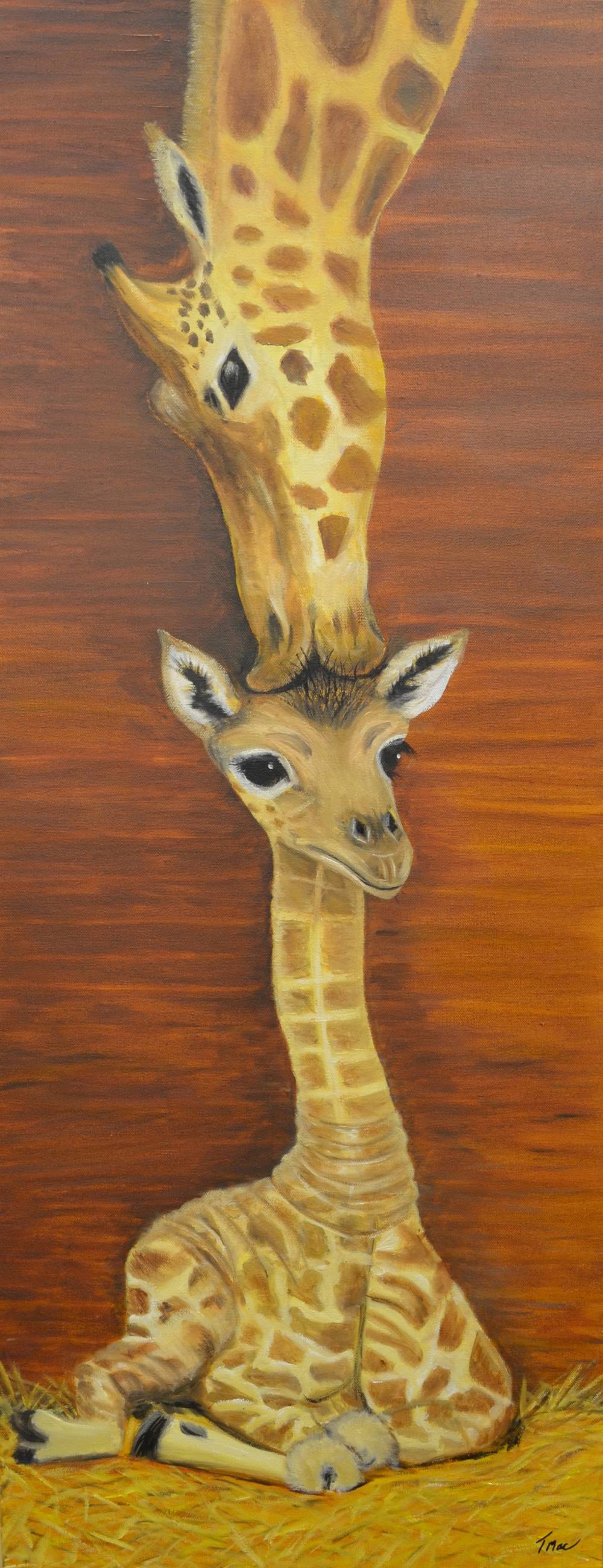 """Mommy & Me: Giraffes"" by Teresa McCarthy, 30x14in, oil on canvas (2016), $425 