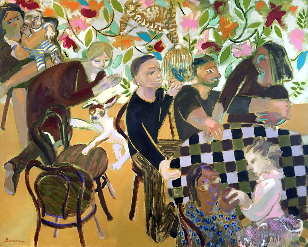 """Wallpaper"" by Joyce Garner, 48x60in, oil on canvas   (2016), $4500 