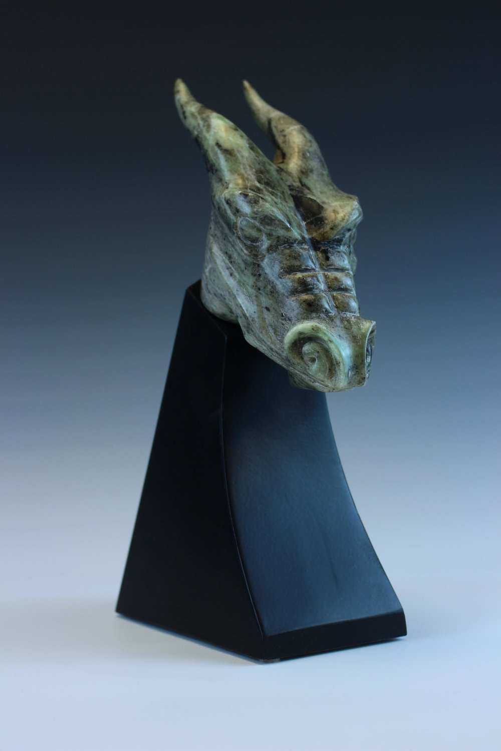 """Fearsome"" by Mike McCarthy, 12x3.5x7.5in, Southern Oregon Soapstone on Wood Base, $600 
