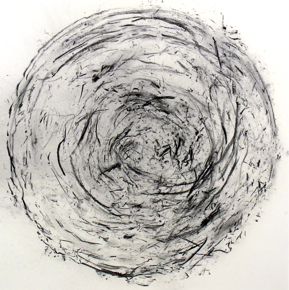 """Whirl Study"" by Peter Bodnar, 14x14in, burnt cedar on paper (2015), $200"