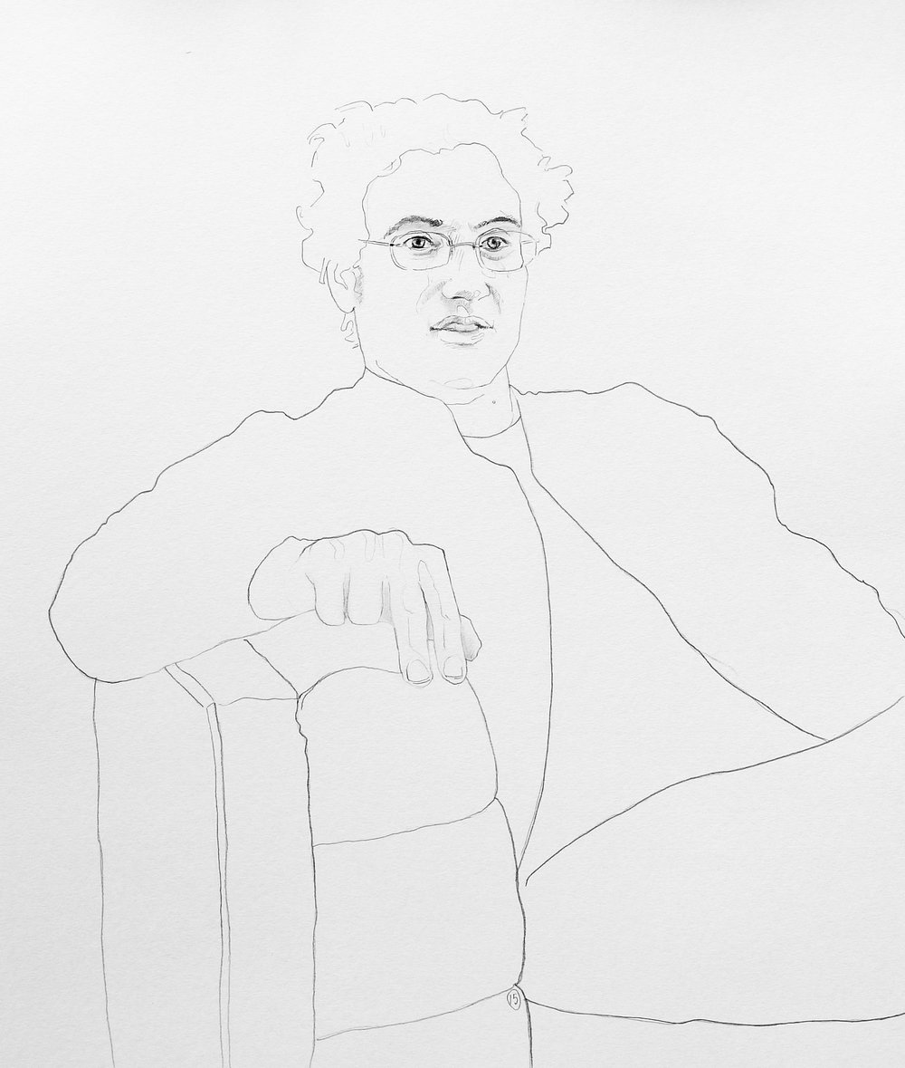 """Teddy #2"" (""Conversation with Teddy Abrams"" Series) by David Iacovazzi-Pau, 24x18in, graphite on paper (2016)"