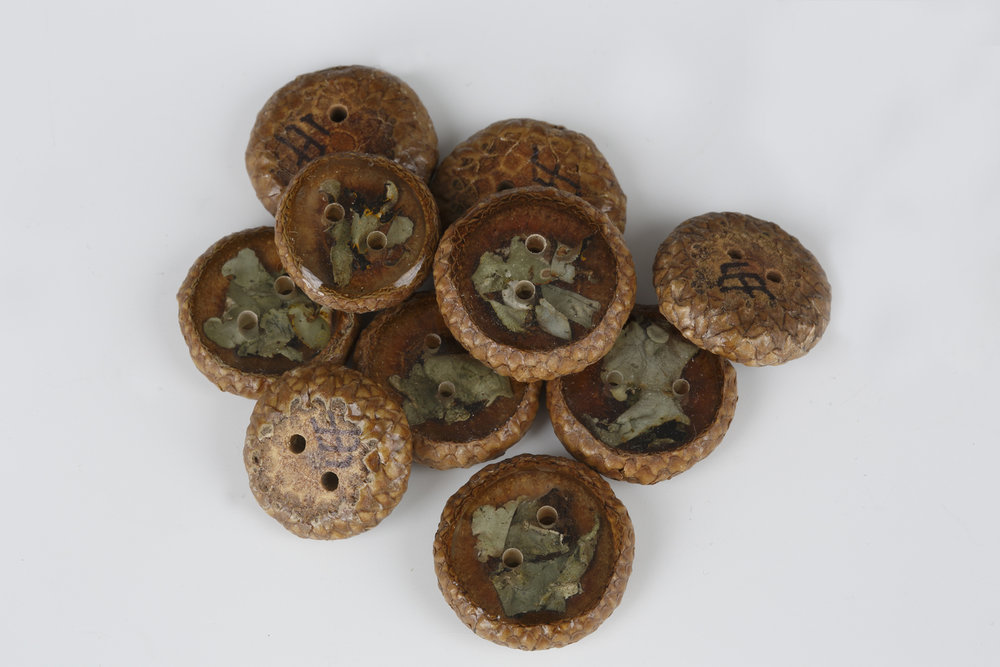 """Acorn/Lichen Buttons"" by Lidsay Frost, wood, 3/4 to 1in D. x 1/4in, $4.00each"