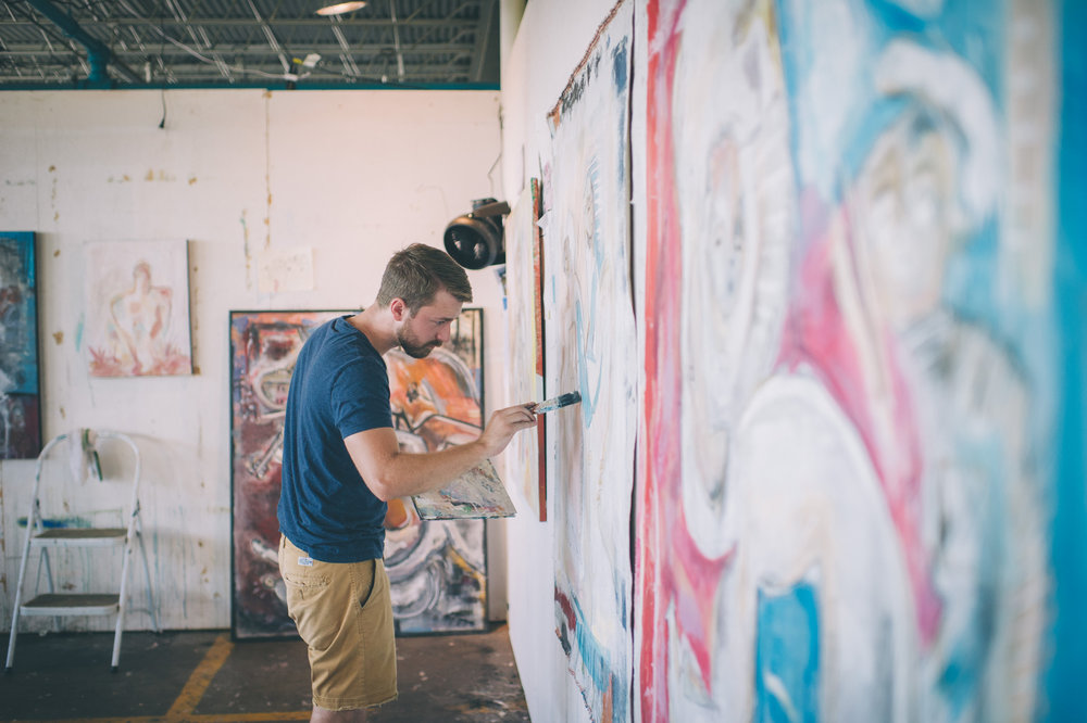 Artist Joshua Jenkins working in studio. Photo by Sarah Katherine Davis For LVA (2016)