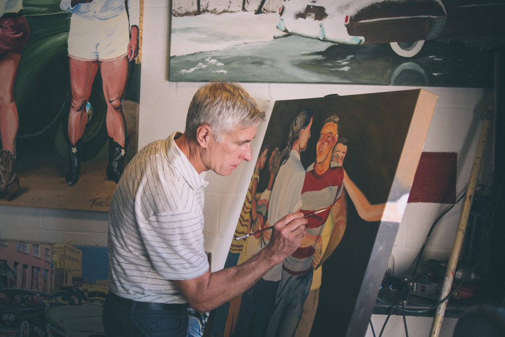 Tom Cannady working on a painting. Photo by Sarah Katherine Davis For LVA (2016).